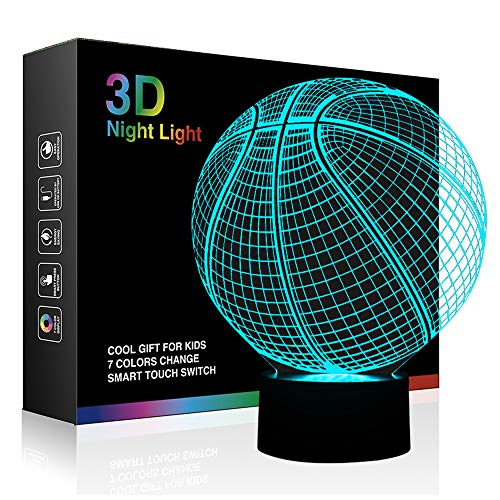 3D Lamp Basketball Round Shape, Ticent 7 Color Changing Night Light...