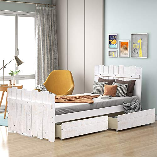 Twin Bed with 2 Drawers, Twin Wood Platform Bed for Kids Teens Juniors Adults Wooden Single Bed for Bedroom, No Box Spring Needed, White