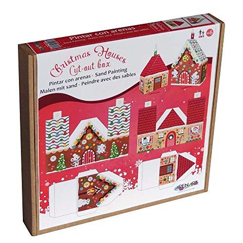 Arenart | Pack 2 Casitas Automontables Navidad | para Pintar con Arenas de Colores | Manualidades Infantiles | Decoración y Adornos en Familia