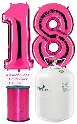 PartyMarty Ballon Zahl 18 in Pink inkl. freelium® go 250 Helium selbst füllen