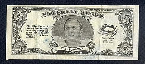 1962 Topps Football Bucks #31 Joe Schmidt Lions EX-MT 363463 Kit Young Cards