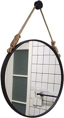 Cuerda de cáñamo Espejo Colgante Marco Negro Redondo Baño Maquillaje casero Espejo de Pared Decorativo Moda Creativa (40cm /
