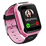 Smart Watch for Kids GPS LBS Tracker Phone, IP67 Waterproof Smartwatch Phone SOS Alarm Clock Camera Touch Screen Voice Chat Games Smartwatch for 3-12 Year Old Boys Girls Birthday Gift (S16-Pink)