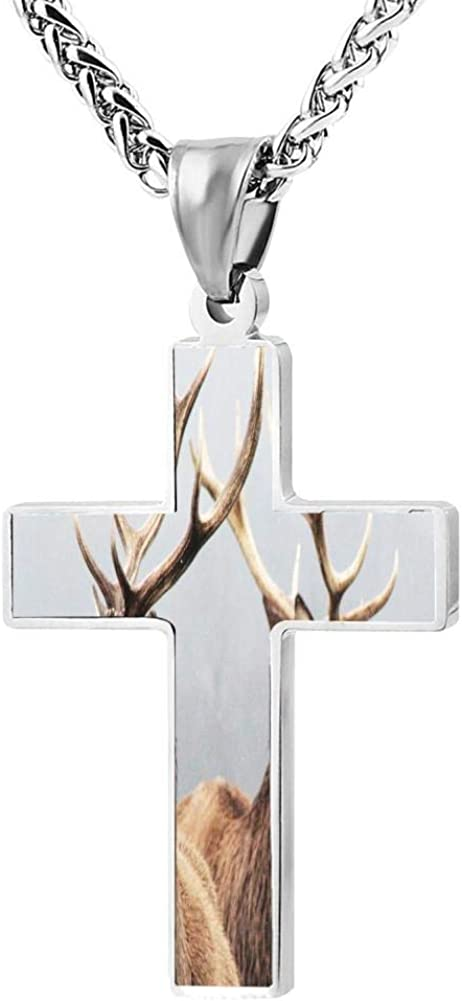 Two deer heads Cross Necklace For Men And Women, Black Zinc Alloy, 24 Inches