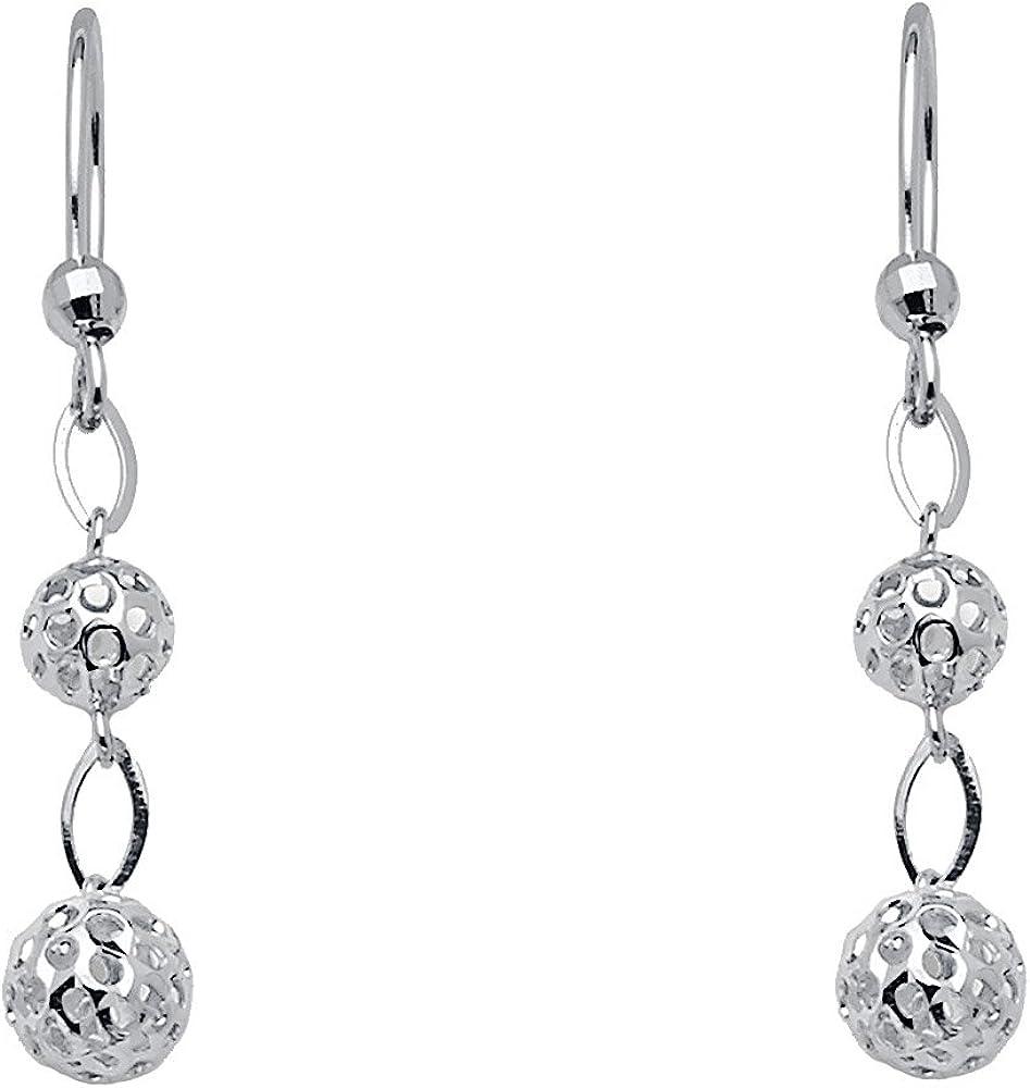 14k White Gold Dangle Earrings (35 x 5 mm)