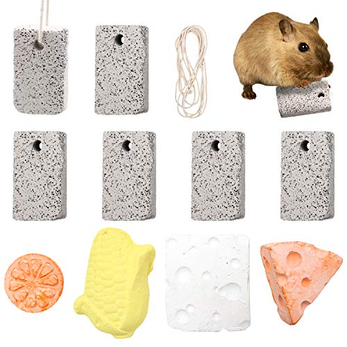 S-Mechanic Hamster Chew Toy, Small Pet Lava Block Chew Treat Toys Calcium Stone Chew Toy Teeth Grinding Square Stone for Parrot, Chinchilla, Guinea Pigs, Hamsters Teeth Grinding (Style 1)