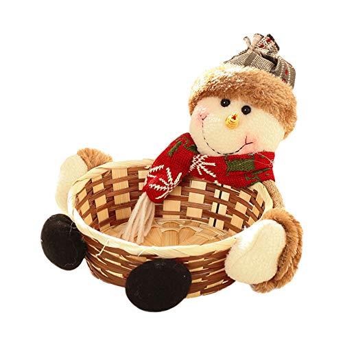 Navidad almacenamiento caramelo cesta Decoración de Santa Claus muñeco de nieve de almacenamiento de frutas cesta de regalo, de 18 cm de diámetro,B