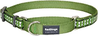 Red Dingo Reflective Martingale Dog Collar, Large, Green