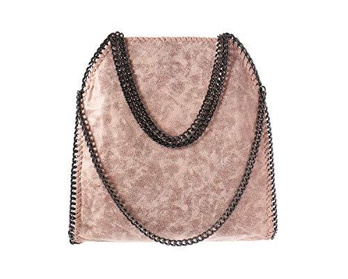 Angleliu Damen PU lässigen Kette Handtasche Modisch Schultertaschen Glitzer Beuteltasche (Rosa)
