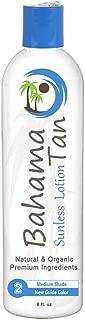 Level 2 Medium Self Tanner Organic & Natural, Body & Face, Bahama Tan Self Tanning Lotion, No Orange Streak-Free Sunless Tanner, 8 oz.