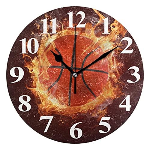 ZHENGYUAN Reloj de pared con llama de baloncesto caliente en fuegos, silencioso, no atado, funciona con pilas, decorativo acrílico creativo para el hogar, cocina, baño, escuela, oficina