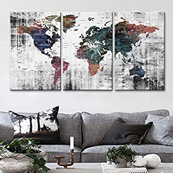 Original by BoxColors LARGE 30 x 60  3 panels 30x20 Ea Art Canvas Print Watercolor background gray Old Map World Push Pin Travel Wall home decor  framed 1.5  depth  M1809