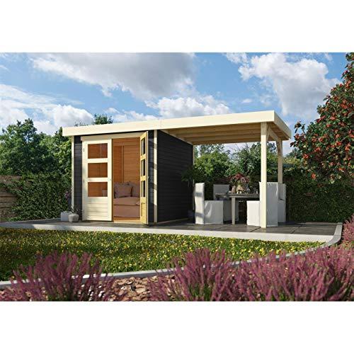 Röhrs Edition - Karibu Gartenhaus Walsrode 2 terragrau Set mit Anbaudach - Gerätehaus aus Fichtenholz - 213 x 217 cm - 19 mm Wandstärke - modernes Design mit Flachdach