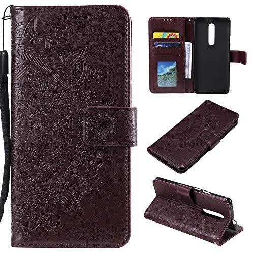 CoverKingz Handyhülle für Nokia 2.4 - Handytasche mit Kartenfach Nokia 2.4 Cover - Handy Hülle klappbar Motiv Mandala Braun