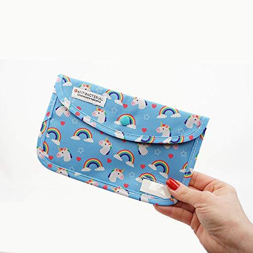 LIVEFISH Estuche Infantil Bolso de mascarilla de Tela con Dibujos Porta mascarillas Almacenamiento de mascarilla Anti Polvo Lavable Plegable (Unicornio)