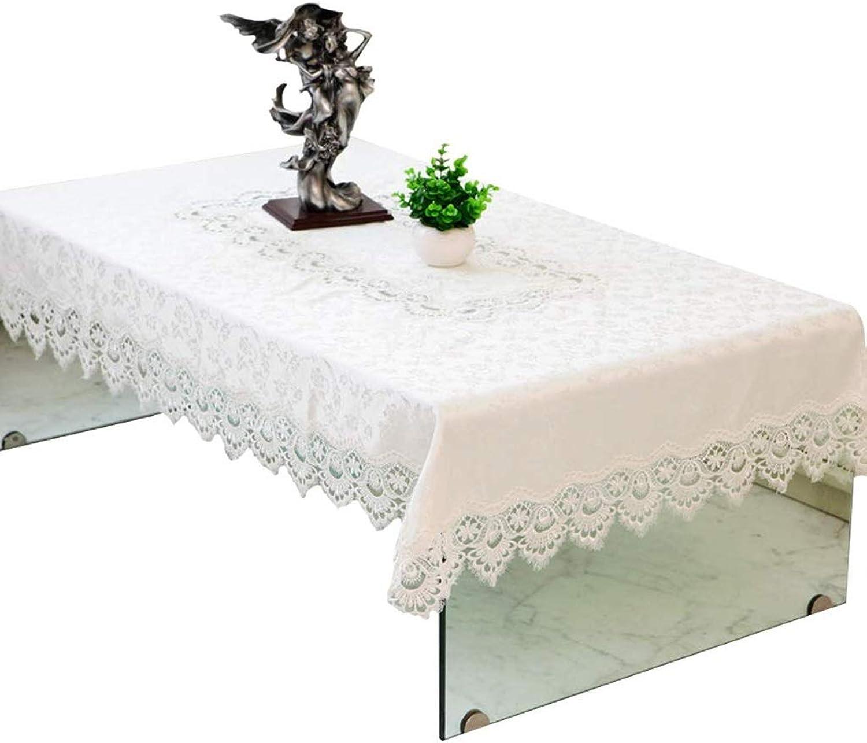 Manteles LEFA Hotel café Encaje Mesa Rectangular decoración del hogar (Color   blanco, Talla   Rectangle145220cm)