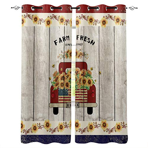 """LOT BASIC Window Curtains Sunflower Grommet Top Window Drapes for Living Room Bedroom Sliding Glass Door 2 Curtain Panels 27.5""""x39"""", Old Red Truck Car on Rustic Wooden Plank"""