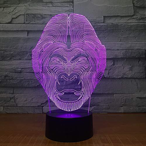 Creativo chimpancé animal 3D lámpara de mesa multicolor LED luz nocturna acrílico luz decorativa regalo