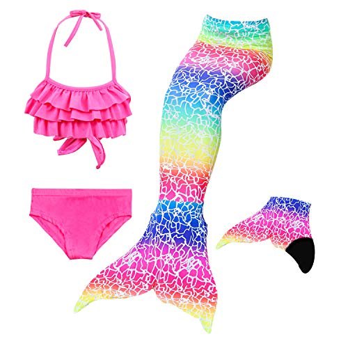 Le SSara meisjes Cosplay kostuum badkleding zeemeerminstaart shell badpak 3 stuks bikini sets