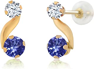 Gem Stone King 0.86 Ct Round Blue Tanzanite White Created Sapphire 14K Yellow Gold Earrings