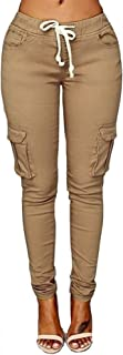 Women's Solid Color Stretch Cargo Joggers Casual Pockets Drawstring Skinny Pants