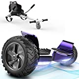 FUNDOT Hoverboards with seat,All terrain Hoverboards with hoverkart,8.5 inch Self Balancing Scooter go kart,Off-Road Hoverboards with Bluetooth Speaker,LED,Powerful Motor,Gift for Children Adults