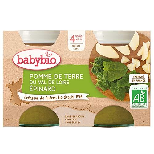 Babybio - Petits Pots Pomme de Terre du Val de Loire Epinard 2x130 g - 4+ Mois - BIO