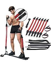 GJCrafts Pilates Bar Kit met 6 opgewaardeerde elastische anti-breekweerstandsbanden, weerstandsniveau tot 200 lbs, draagbare yoga oefening pilates stok met voetlus en weerstand touw, fitnessapparatuur.