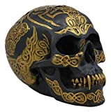 """Ebros Celtic Tribal Knotwork Tattoo Black Ghost Vampire Skull Statue 7"""" Long As Macabre Ossuary Decor Dracula Skeleton Cranium for Halloween Day of The Dead Gothic Accessory Accent Figurine Sculpture"""