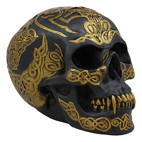 Ebros Celtic Tribal Knotwork Tattoo Black Ghost Vampire Skull Statue 7' Long As Macabre Ossuary Decor Dracula Skeleton Cranium for Halloween Day of The Dead Gothic Accessory Accent Figurine Sculpture