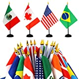 ANLEY 24 Countries Deluxe Desk Flags Set - 8 x 5 Inches Miniature American US Desktop Flag with 13' Black Pole - Vivid Color and Fade Resistant - Come with Black Base and Golden Top