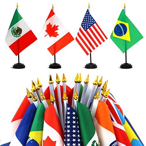 Anley Juego de Banderas de Escritorio 24 países 7,5 x 5,5 Pulgadas Bandera de Escritorio Estadounidense en Miniatura con Poste Negro de 12,5'- Color Vivo y Resistente