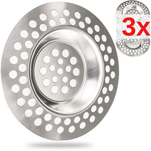 Filtro da scarico, set 3 pz Ø 70 mm, adatto per scarichi con Ø interno 42 mm, sporge di 9.5 mm di profondità nello scarico, filtro per lavello ottimizzato per lavelli, docce, lavandini, vasca da bagno
