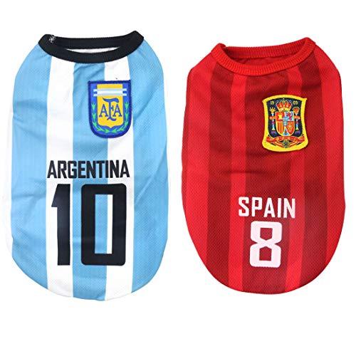 Camiseta de camiseta para perro, equipo nacional de fútbol, para mascotas, chaleco, ropa de mascota, 2 unidades (M: longitud: 30 cm/contorno del pecho: 35 cm, Ag-Sp)