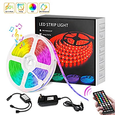 LED Strip Lights Sync to Music - IP65 Waterproof RGB LED Light Strips with Remote, SMD 5050 12V Timer Color Changing Rope Lights for Bedroom Bar Party TV Mood Lighting