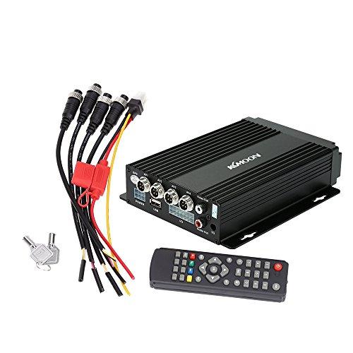 KKmoon Mini SD DVR de Coche Tiempo Real 4 Canales Entrada de Video/Audio con Cifrado de control remoto