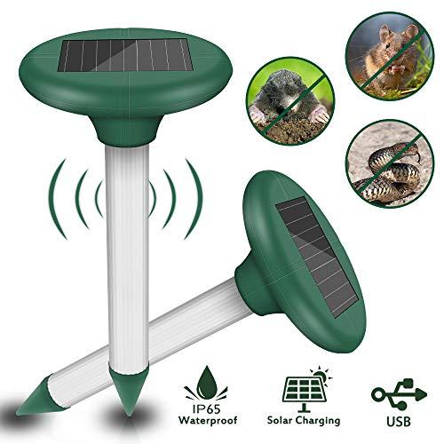 Molbory 2 Stück Ultrasonic Solar Maulwurfschreck, Wasserdicht Solar Tiervertreiber Maulwurffalle Hundeschreck für Draußen Rasen Gartenhöfe