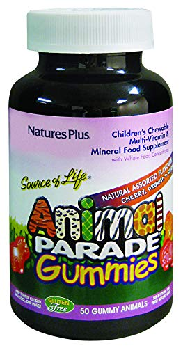 Nature's Plus Animal Parade Source of Life Gummies - Natural Cherry, Orange & Grape Flavours - Animal Shaped Gummies - Children's Multivitamin - Gluten Free (50)