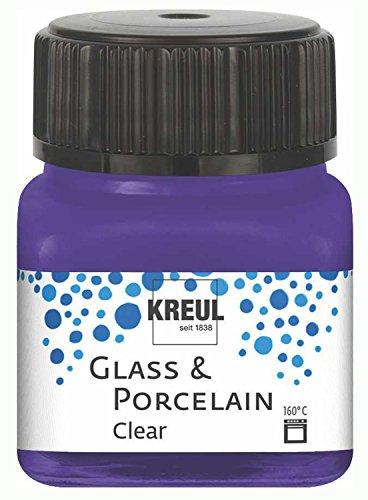 Kreul 16211 - Glass und Porcelain Clear, transparente Glas- und Porzellanmalfarbe auf Wasserbasis, schnelltrocknend, glasklar, 20 ml im Glas, violett