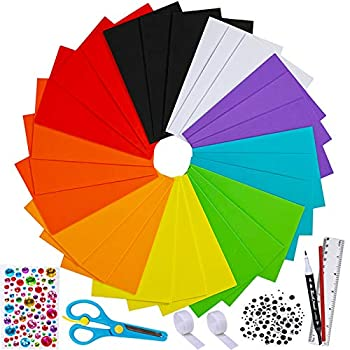 90 Sheets Foam Handicraft Sheets 9 Colors Craft Foam Sheets EVA 9  x 6  2mm Thick with Scissor Ruler Pencils Googly Eyes for Kids Classroom Holiday Party Scrapbooks Artwork Projects