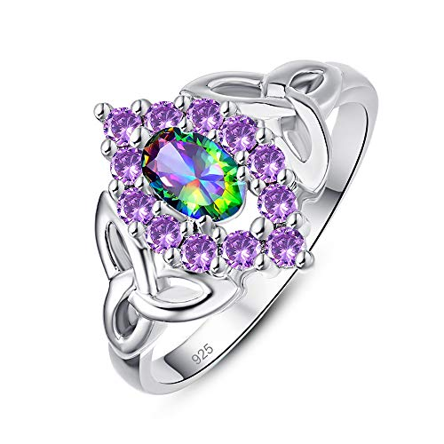 PAKULA Silver Plated Women Simulated Rainbow Topaz Celtic Knot Promise Ring for Her Size 8