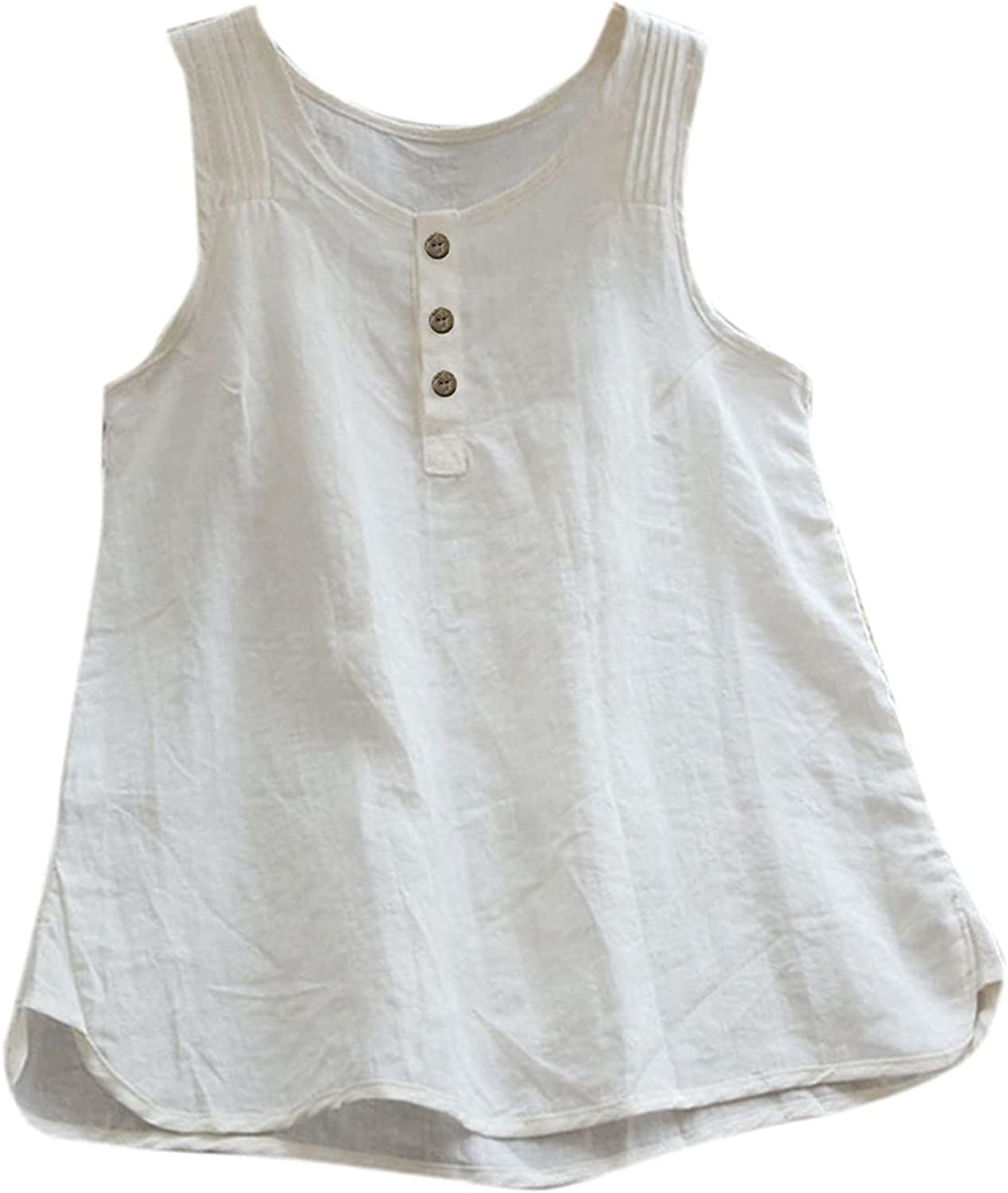 Sinzelimin Fashion Vest for Women Casual Loose Solid Color Cotton Linen O-Neck Sexy Sleeveless T-Shirt Blouse Tank Tops