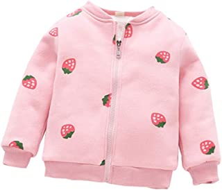 Fairy Baby Kids Winter Fleece Outfit Girls Floral Strawberry Outwear Jacket Zip Coat