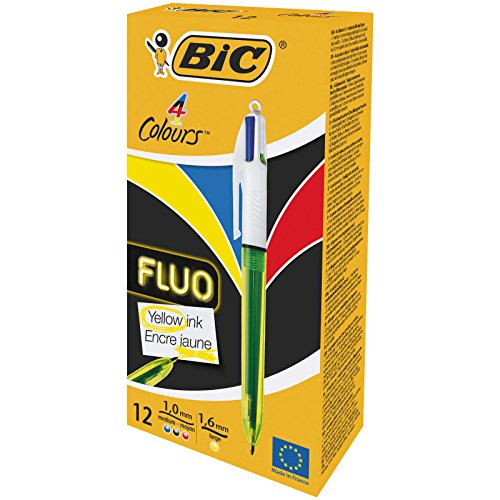 Bic 4 Colour Fluo Black/Blue/Red/Yellow Highlighter Pack 12