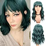 M-BOX Hair 14 Inch Body Wave Wigs with Bangs Short Curly Wavy Bob Wig for Women Shoulder Length Synthetic Wigs Dark Green Fluffy Pastel Colored Wigs for Girls (14',#dark green)