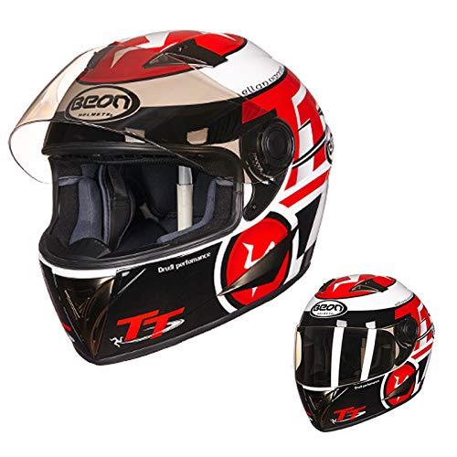 Casco da motociclista da motociclista integrale rosso TT omologato ECE Replica Cruiser Bobber Track Dispositivi di protezione individuale, pulizia rimovibile, per uomini adulti ( Size : L(57~58CM) )
