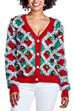 Women's Garland Christmas Sweater - Green and Red Tinsel Ornament Ugly Christmas Cardigan: Large