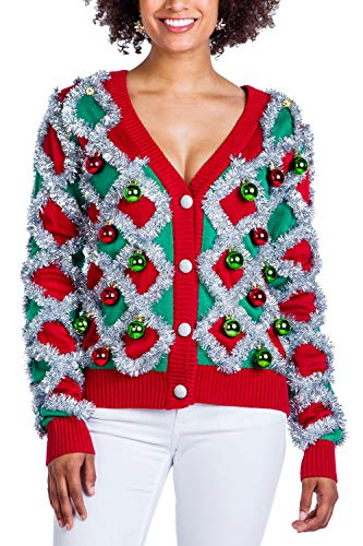 Women's Garland Christmas Sweater – Green and Red Tinsel Ornament Ugly Christmas Cardigan: Small