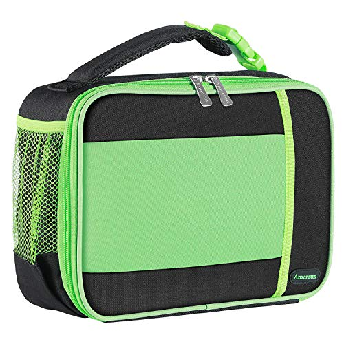 Kids Lunch Box with Supper Padded Inner Keep Food Cold Warm for Longer Time,Amersun Leak-proof Solid Insulated School Lunch Bag with Multi-Pocket for Teen Boys Girls,CPC Certified,Black+Green