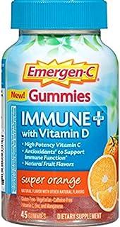 Emergen-C Gummies Immune Plus Vitamin D, Super Orange, 45 Gummies (Pack of 2)